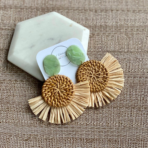 Large Rattan and Raffia Earring with Mint Green Stud