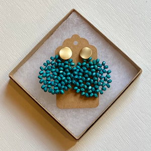 Turquoise Wood Beaded Earring