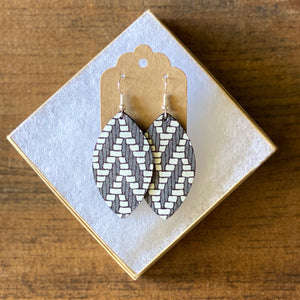 Charcoal Grey Chevron Leather Earring (additional styles)