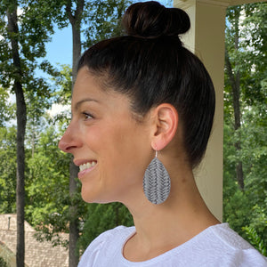 Braided Ash Grey Leather Earrings (additional styles)