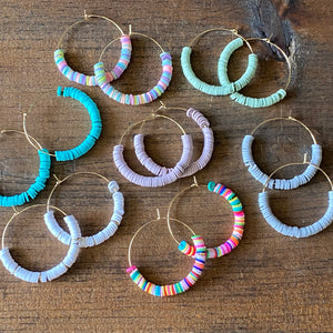 Heishi Bead Hoops (additional colors available)