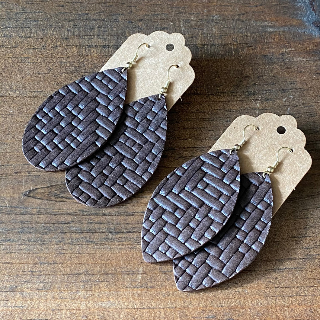 Chocolate Basketweave Leather Earrings (additional styles available)
