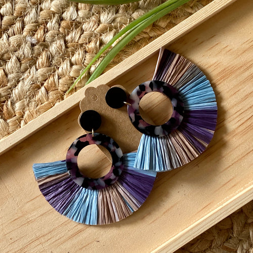 Blue Violet Tortoise and Raffia Statement Earring