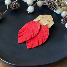 Load image into Gallery viewer, Red Leather Feather