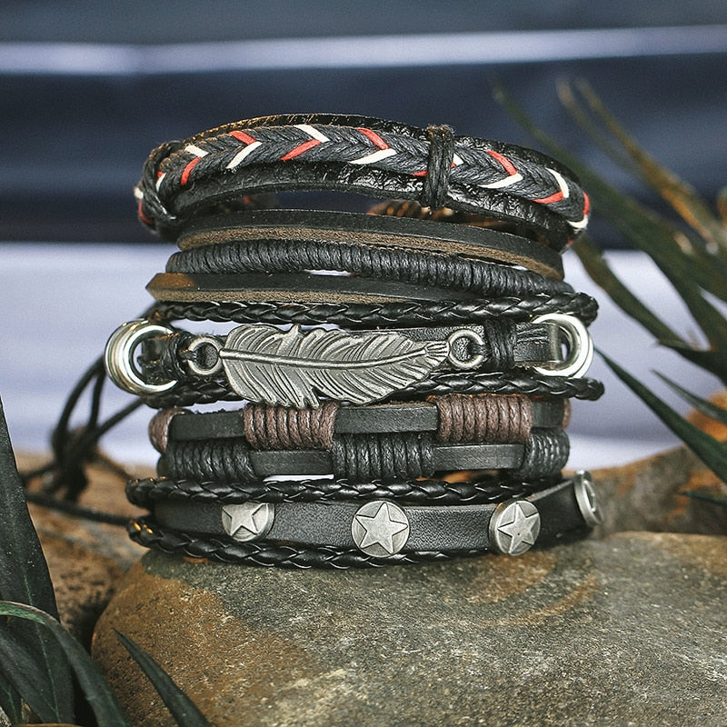 Leaf leather multi layer men bracelet