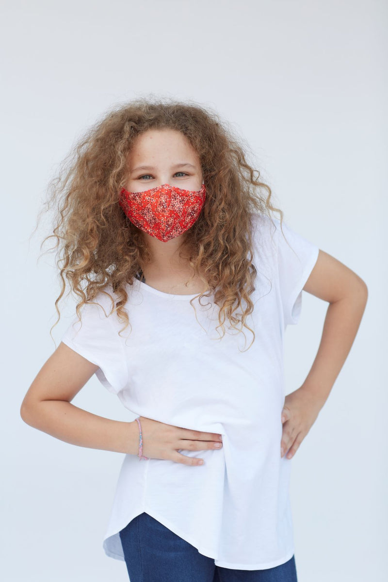 Youth Red Paisley Face Mask