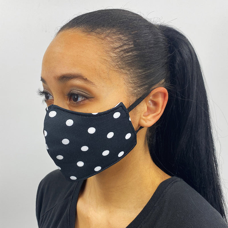 Black and White Polka Dot Face Mask