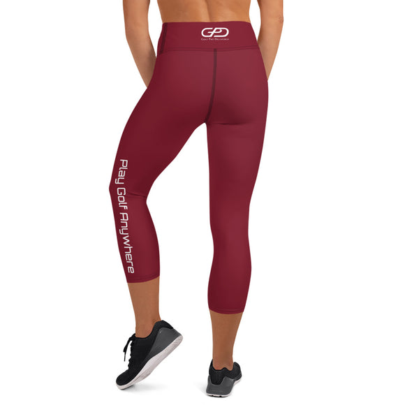 Womens - Capri Leggings - Maroon