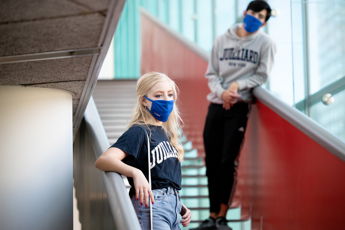 Juilliard students wearing masks and social distancing