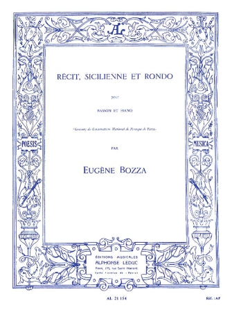 Bozza Recit, Sicilienne And Rondo For Bassoon And Piano