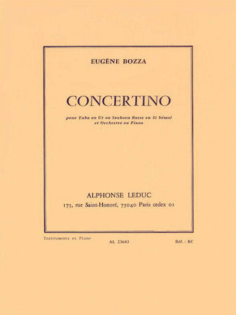 Bozza Concertino (tubo/saxhorn And Piano)