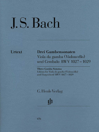 Bach Sonatas for Viola da Gamba and Harpsichord BWV 1027-1029 (version for cello)