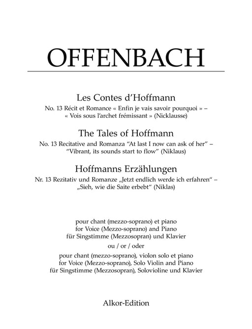 "Offenbach No. 13 Recitative and Romanza ""Enfin je vais savoir pourquoi"" – ""Vois sous l'archet frémissant"" (Nicklausse) for Mezzosoprano and Piano or Mezzosoprano, Solo Violin and Piano (from ""Les Contes d'Hoffmann (The Tales of Hoffmann)"")"