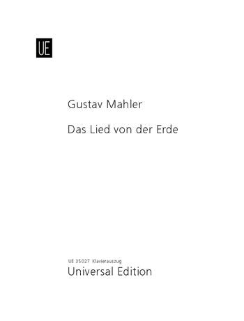 Mahler Das Lied der Erde (The Song of the Earth) Vocal Score