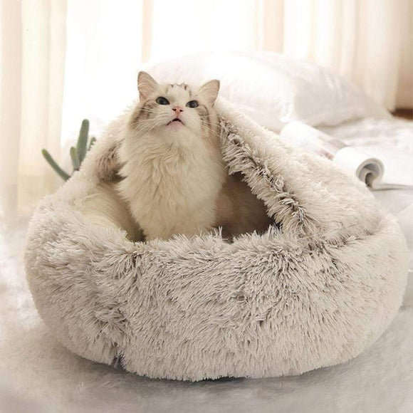 Fluffy Warm Cat Bed/Hooded Donut Cozy Soft Plush Dog Bed in Cave Shape - sloppylab