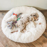 Fluffy Dog Bed & Cat Bed in Donut Shape To Calm Your Dog Anxiety - Sloppylab