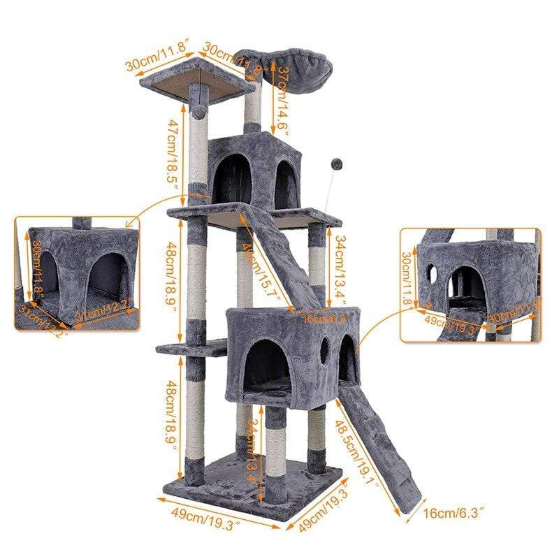 PAWZ Road Pleasantpet Store Furniture Multi-layer Cat Furniture/Tree with Ladder And Toys Sisal Scratching Post Climbing Jumping Frame With Nest Cat Toy