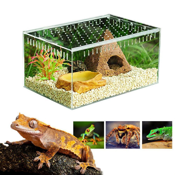 Small Animal Habitant Breeding Tank/Cage with Acrylic Transparent Sliding Cover - Sloppylab