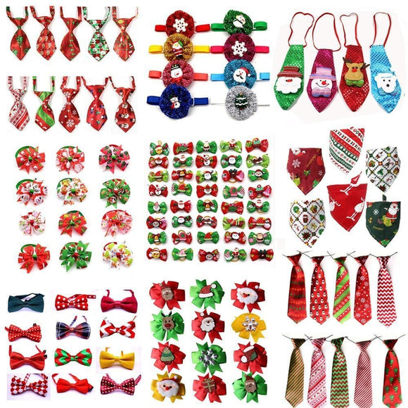50pcs Christmas Pet Bow Tie for Grooming Accessories - sloppylab