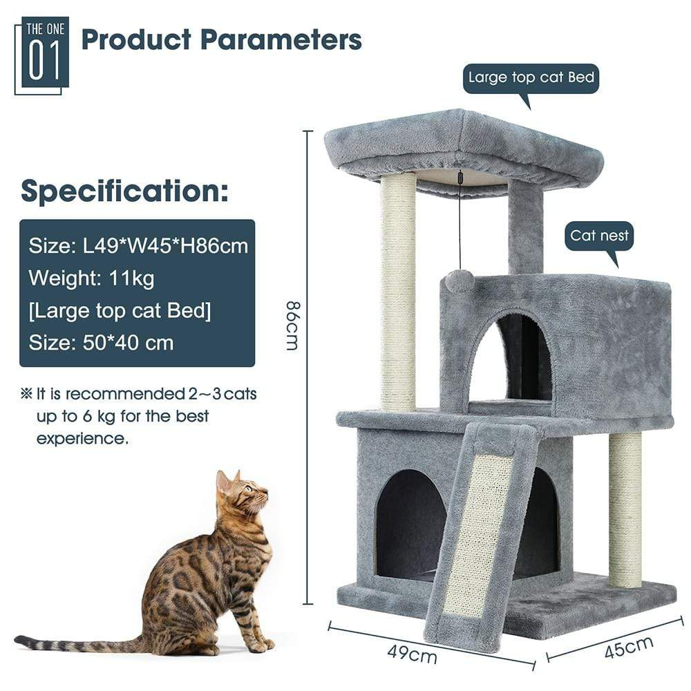 Sloppylab Pet Store Fast Delivery Pet Cat Tree House Condo Multi Level Climbing Stratching Post for Cat Kitten Playing Ball Cat Jumping Activity Toy