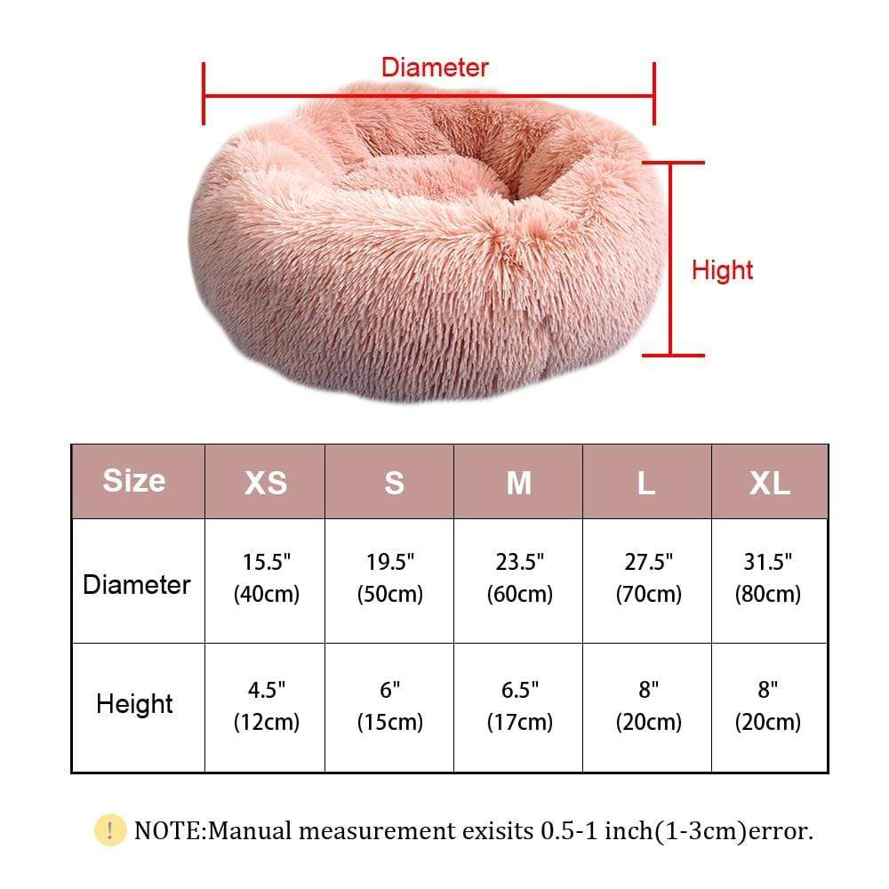 Sloppylab Pet Store Warm Fleece Dog Bed Round Pet Cushion For Small Medium Large Dogs Cat Long Plush Winter Dog Kennel Puppy Mat Bed Lounger Sofa