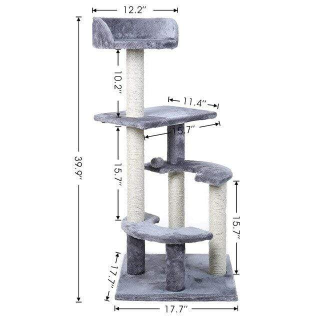 Sloppylab Pet Store WJ0209-H / L / United States Pet Cat Jumping Toy with Ladder Scratching Wood Climbing Tree for Cat Climbing Frame Cat Furniture Scratching Post #0201