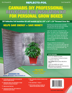 "Cannabis DIY Reflective Thermal Foil Insulation Kit For Personal Grow Box 24""X 24""X 24"""