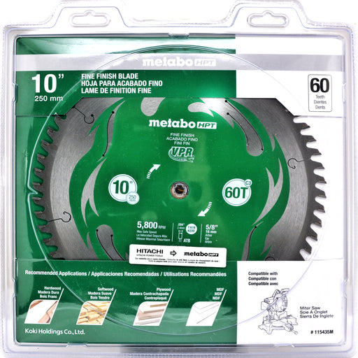 "Metabo HPT 115435M 10"" Miter Saw/Table Saw Blade, 60T Fine Finish, Large Micrograin Carbide Teeth, 5, 800 Max Rpm"