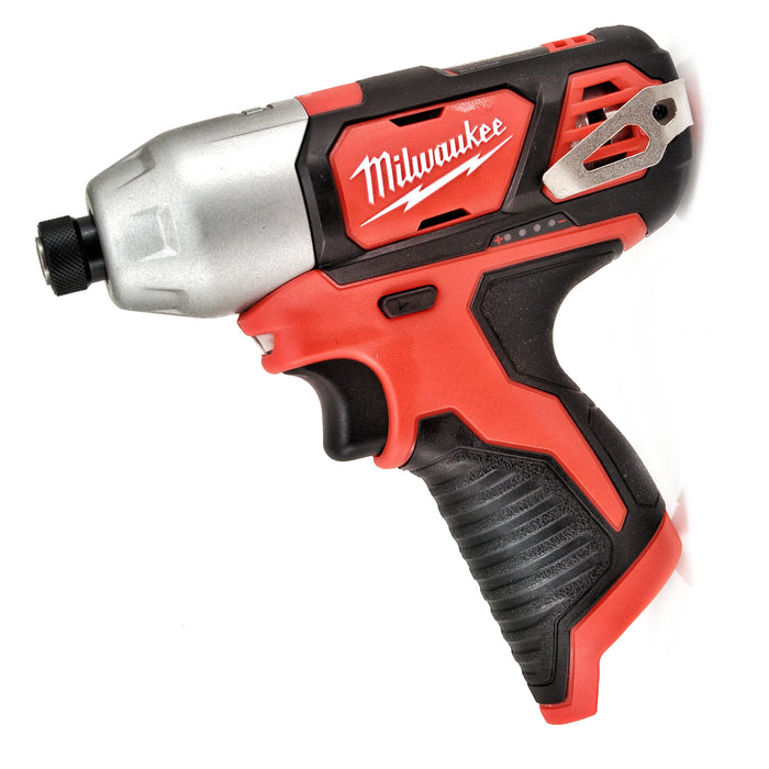 "MILWAUKEE 2462-20 M12 Li-Ion 1/4"" Cordless Hex Impact Driver 1.5Ah Batteries New"