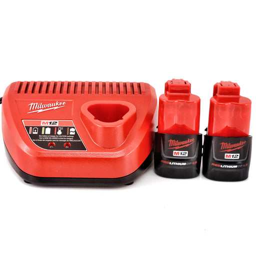 Milwaukee 48-11-2411 M12 REDLITHIUM 1.5Ah Compact Battery Packs with M12 Charger