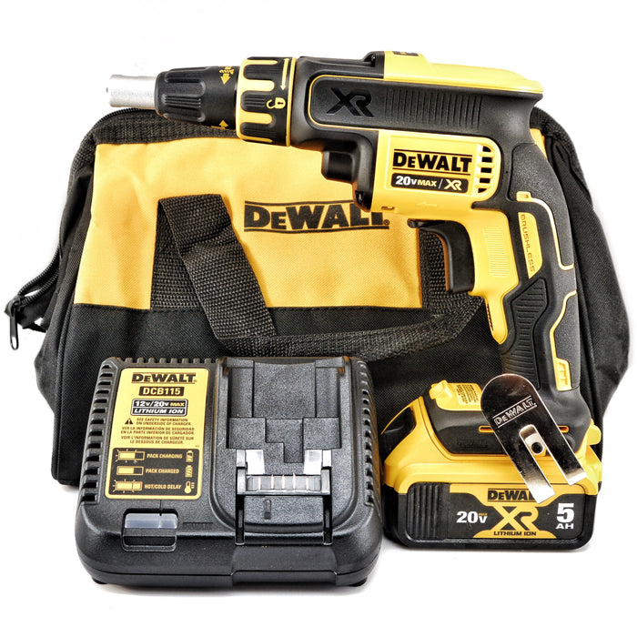 DEWALT DCF620B 20V MAX XR Li-Ion 5.0 Ah Brushless Drywall ScrewGun Kit