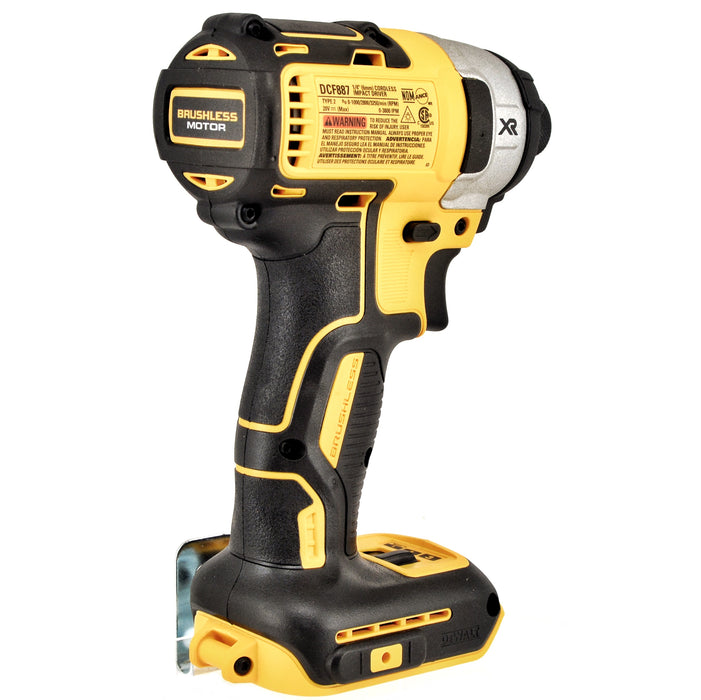 "DeWALT DCF887B 20V 3 Speed XR Brushless 1/4"" Impact Driver & (2) 5.0 Ah Batteries"