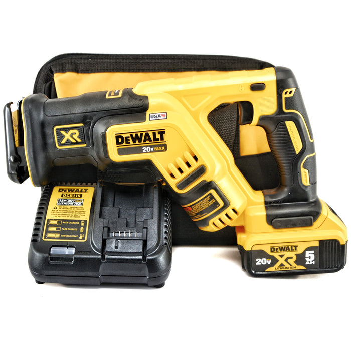 DeWALT DCS367 20V 20 Volt MAX XR Brushless 5.0 Ah Compact Reciprocating Saw Kit with Tool Bag
