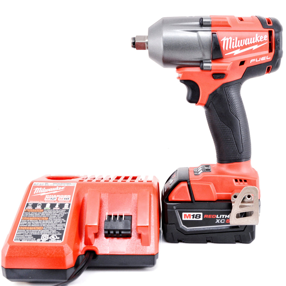 "Milwaukee 2861-20 M18 Li-ion 5.0 Ah FUEL Mid-Torque 1/2"" Friction Ring Impact Wrench Tool Kit"
