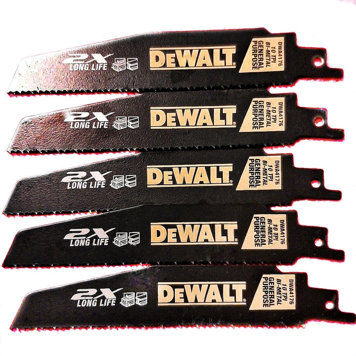 DeWALT DWA4176 6-Inch 10TPI 2X Reciprocating Saw Blade (5-Pack)