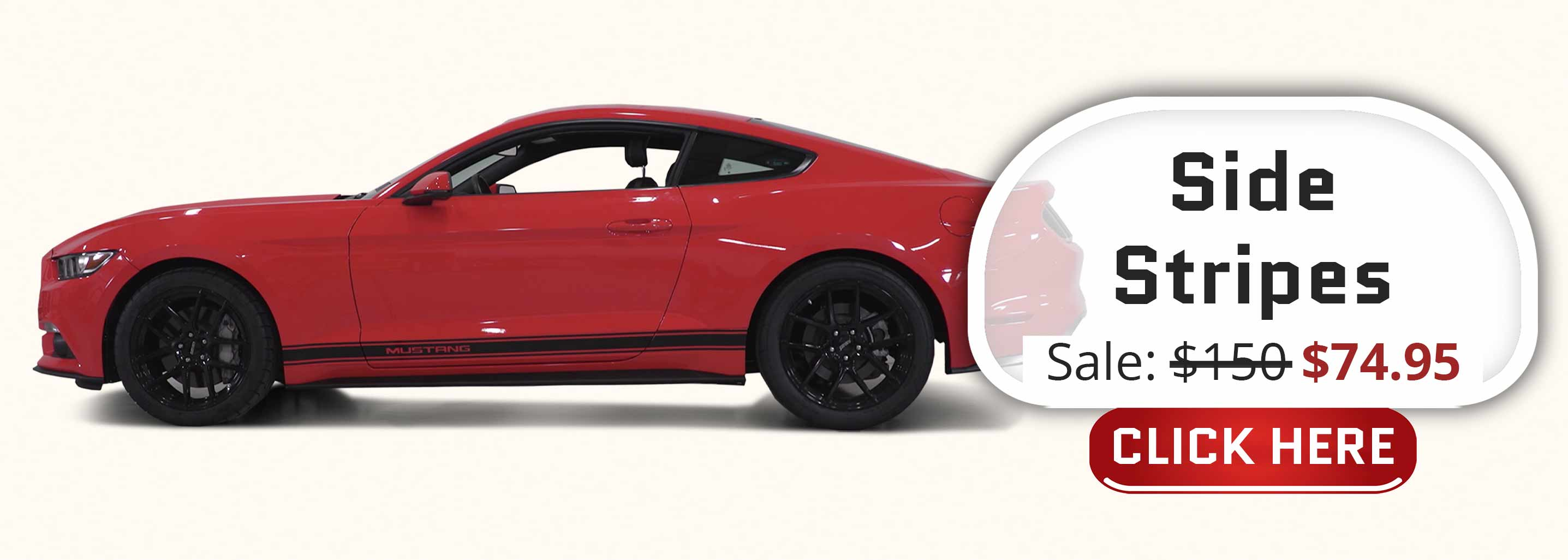 ford mustang side stripes with custom mustang text pre-cut fender decals