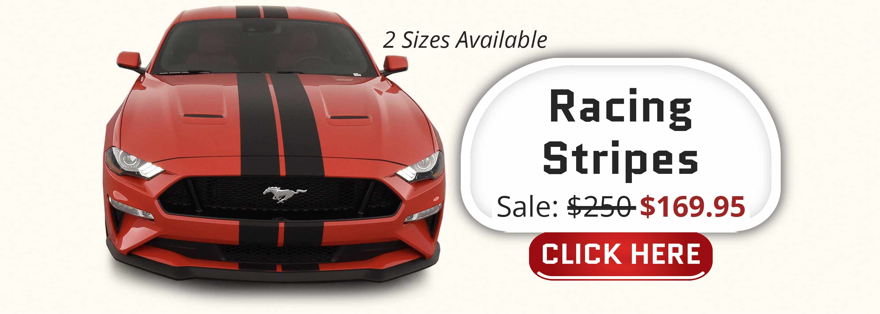 thin dual rally racing stripes twin stripe kit pre-cut decals full stripes on a red Ford Mustang GT
