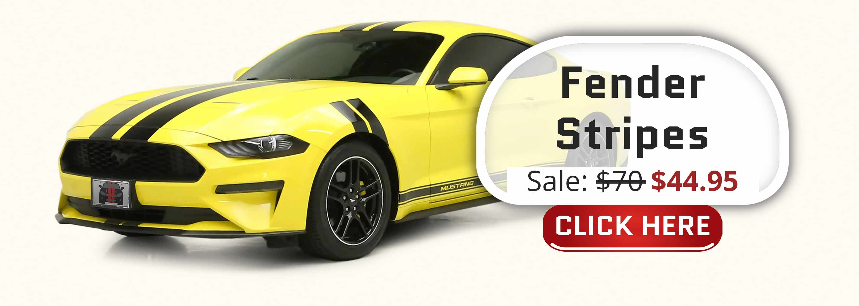 black Fender Stripes Hash Marks on a yellow ford mustang pre-cut decal