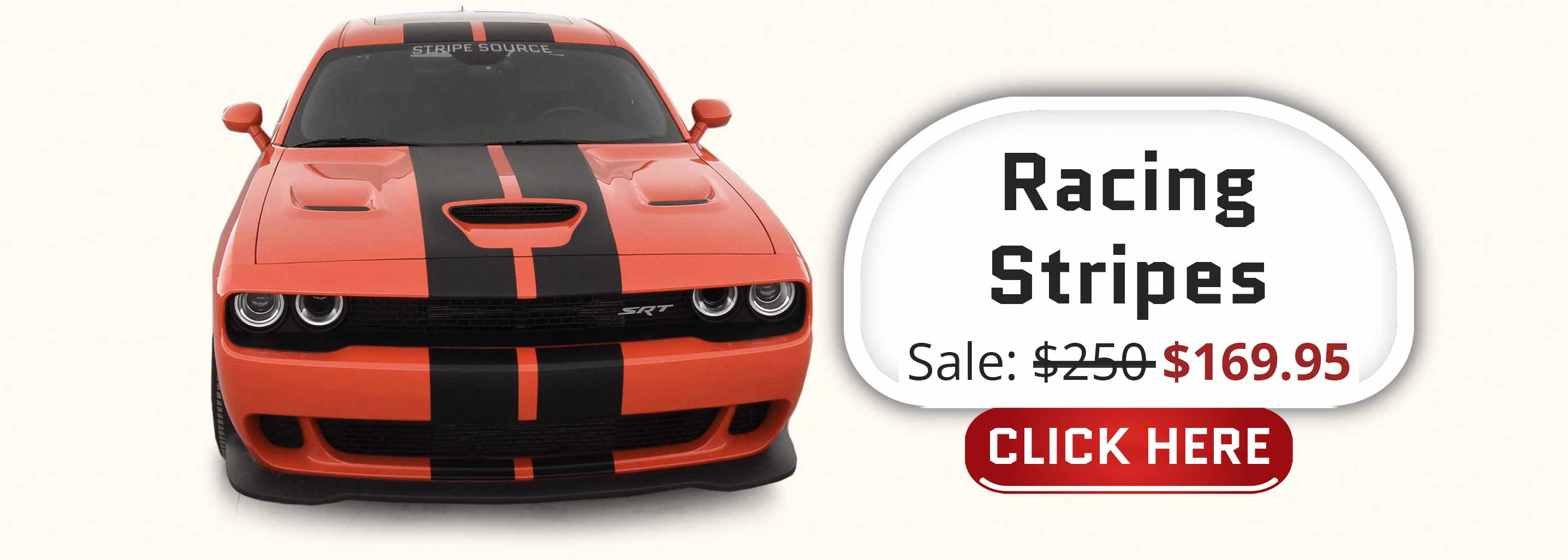 Hellcat Demond Challenger with twin black racing stripes pre-cut decal
