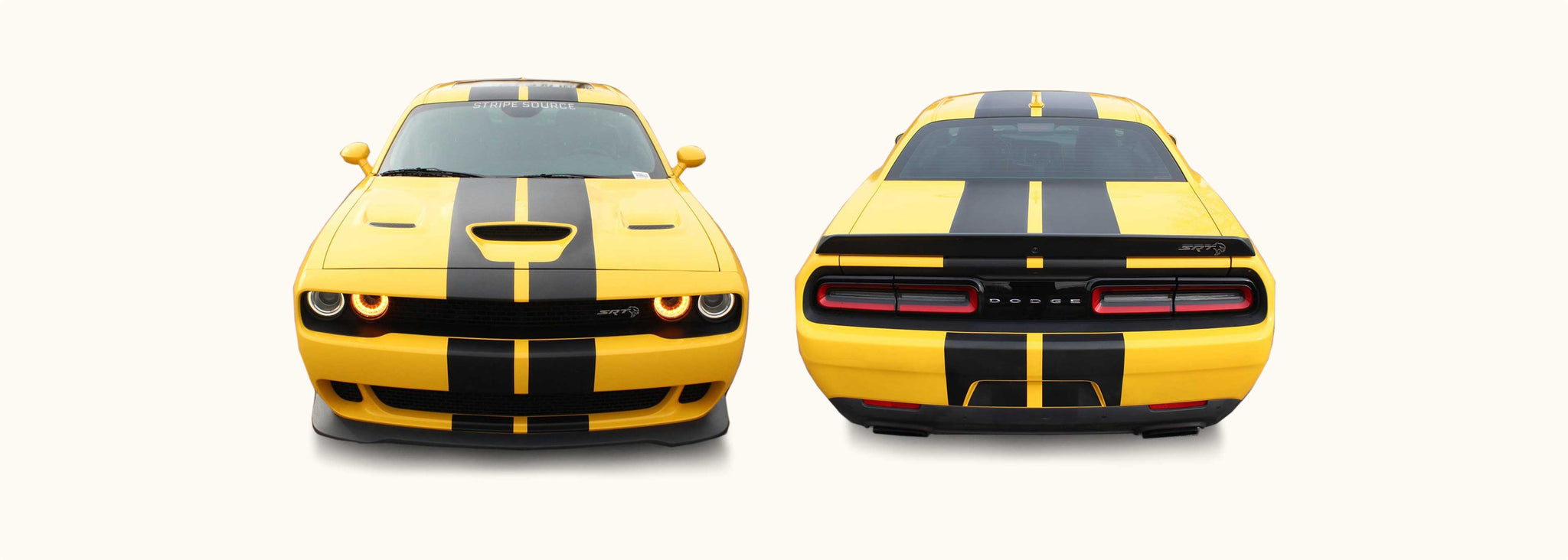 Dodge Challenger Dual Rally Racing Stripes with Optional Pinstriping (Mopar, 2015-2021) - Stripe Source