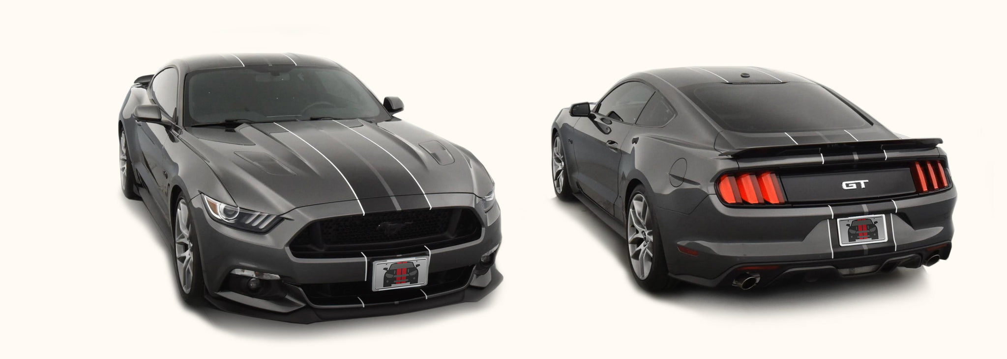 Ford Mustang Dual Rally Racing Stripes with Pinstriping (2015-2017) - Stripe Source
