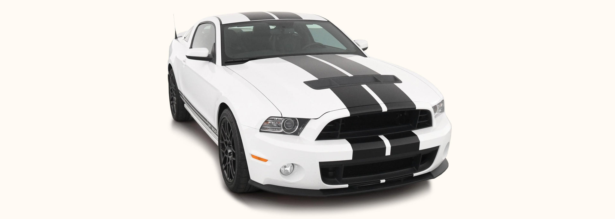 Ford Mustang Dual Rally Racing Stripes with Optional Pinstriping (2013-2014) - Stripe Source