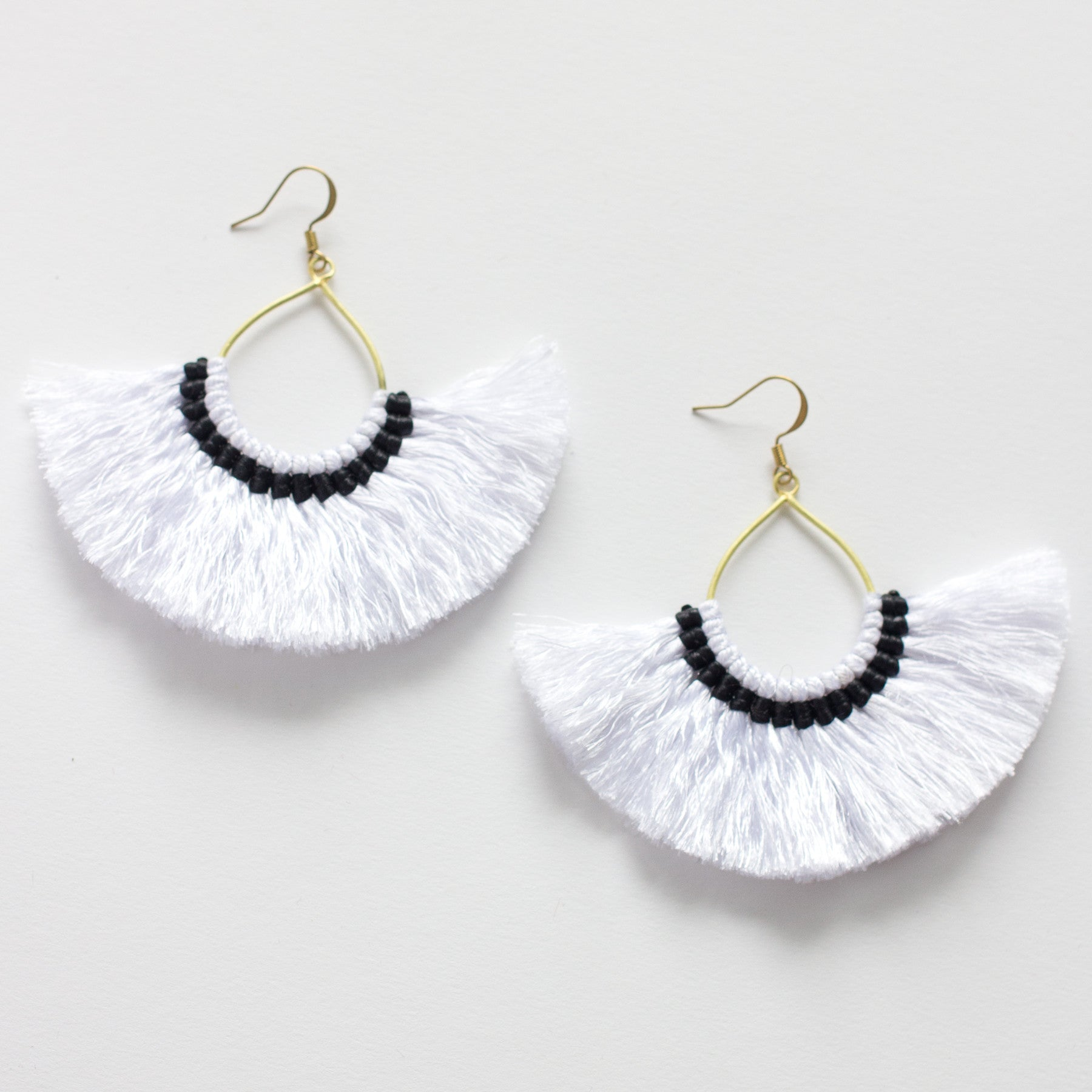 hoop boutique en tassle tassel black happiness earrings