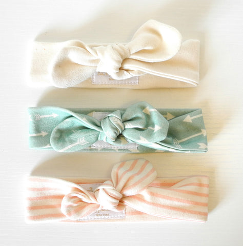 Whisper & Arrow, a set of three headbands, organic cotton headband