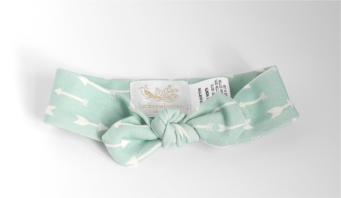 Mint Arrow Headband, organic cotton, made in USA