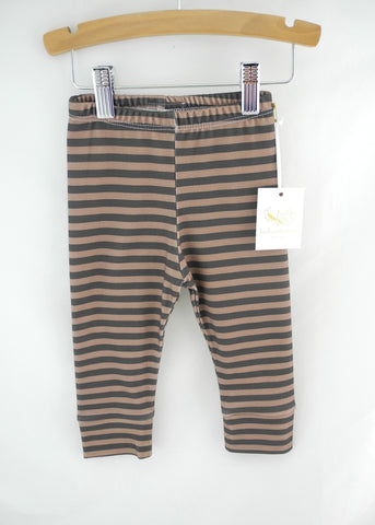 Organic Baby Leggings, Brown/Black Stripe LE167