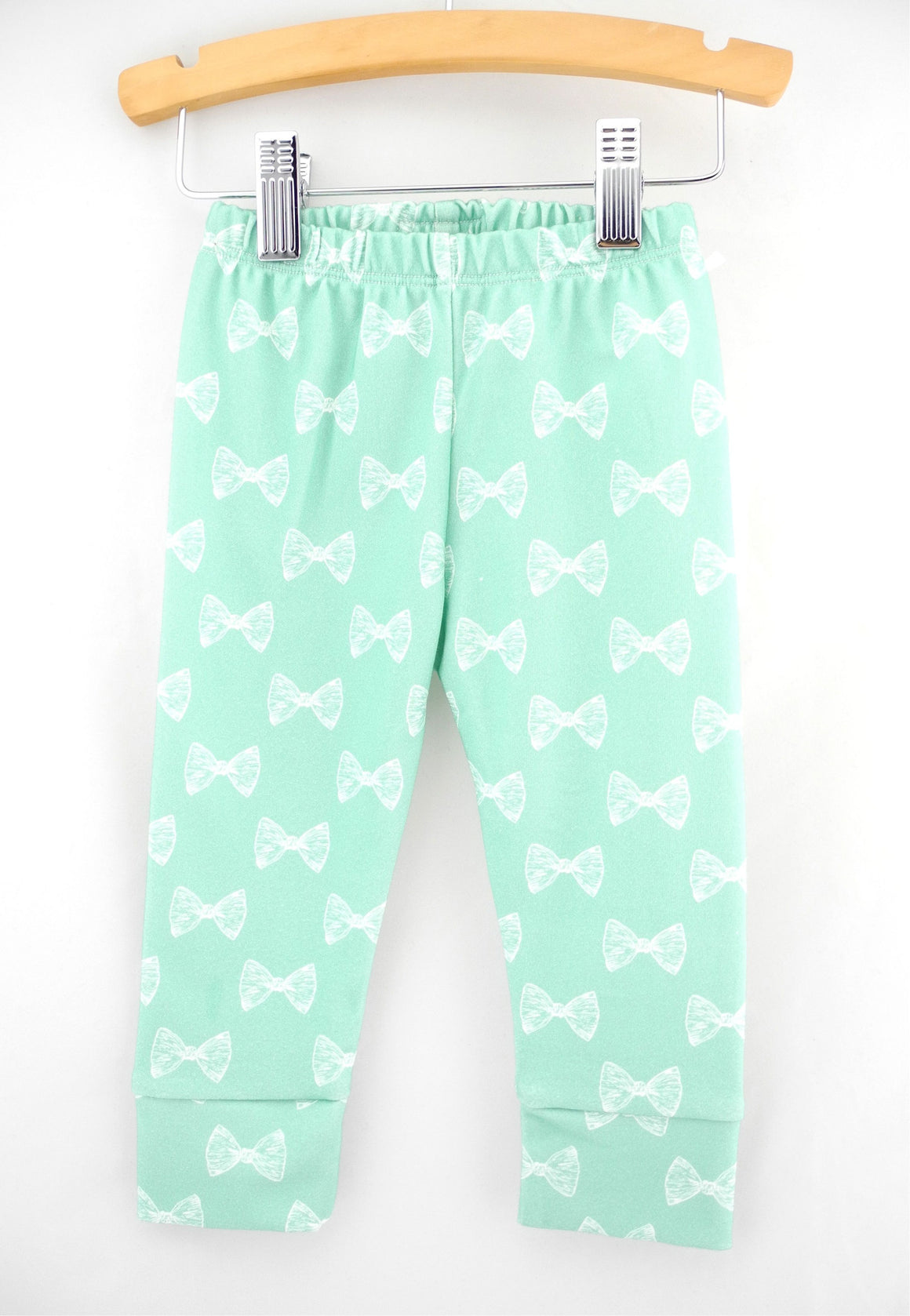 Organic mint bow leggings, baby pants, LE210
