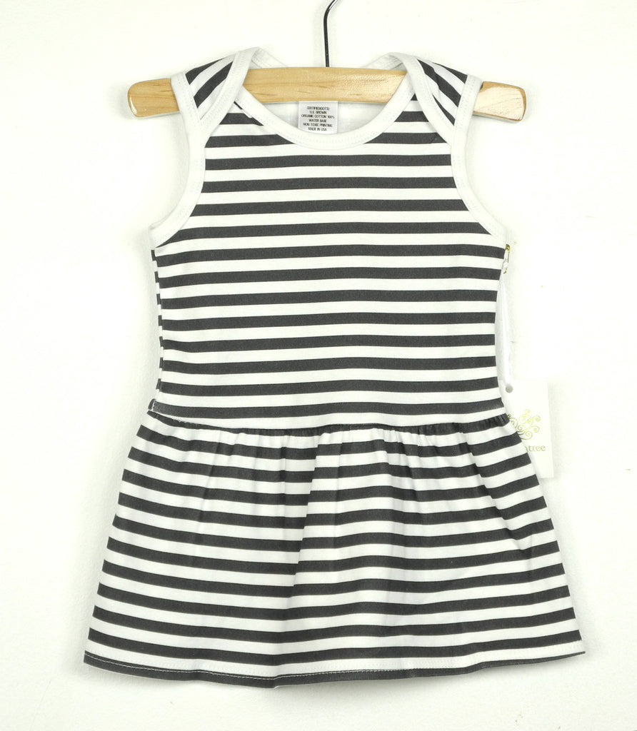Organic stripe sleeveless dress