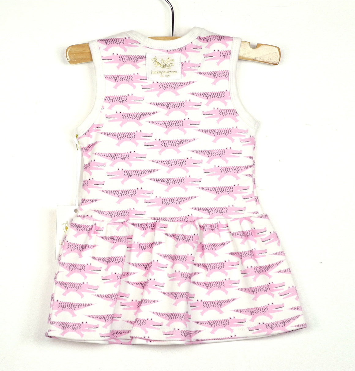 Organic pink crocodile sleeveless dress