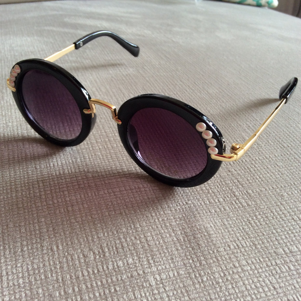 black/gold with pearl beads children's sunglasses